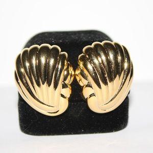 Gold Shell Joan Rivers Clip Earrings